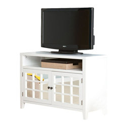 Southern Enterprises - Carter Mirrored TV-Media Stand in White - This beautiful TV/media stand brings style and great media storage to the table. The crisp, white finish and generous storage make this stand a delightful addition to any home. This TV/media stand features a wide, open shelf beneath the TV, perfect for electronics or game consoles. It also features two large cabinets for additional storage, such as movies and games. The cabinet doors feature mirrors for a striking reflection, which completes a room and reduces the visual clutter. This media stand offers simple, linear design and decorative use of mirrors; it's perfect for homes with a transitional to modern decor. The handcrafted touch of artisan skill creates variations in color, size and design. If buying two of the same item, slight differences should be expected. Note: color discrepancies may occur between this product and your computer screen.