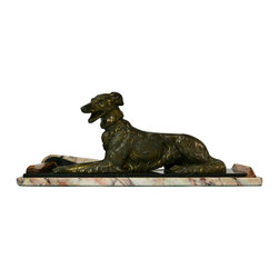 Lavish Shoestring - Consigned Art Deco Sculpture Reclining Dog on Marble Base, Continental European - What you need to know
