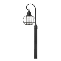 Hinkley Lighting - Black 1 Light Dark Sky Post Light from the New Castle Collection - Hinkley Lighting 2251BK New Castle Post Light This Hinkley Lighting item has a black finish. It is offered with clear seedy glass. For use with one 50-watt
