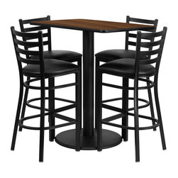 "Flash Furniture - 24'' x 42'' Rectangular Walnut Table Set with 4 Ladder Back Bar Stools - 24"" x 42"" Rectangular Walnut Laminate Table Set with 4 Ladder Back Metal Bar Stools - Black Vinyl Seat. Rectangle Table and Metal Restaurant Bar Stool Set; Set Includes 4 Bar Stools, Rectangle Table Top and Round Base; Metal Restaurant Bar Stool; Ladder Style Back; Black Vinyl Upholstered Seat; 2.5"" Thick 1.4 Density Foam Padded Seat; CA117 Fire Retardant Foam; 18 Gauge Steel Frame; Welded Joint Assembly; Two Curved Support Bars; Foot Rest Rung; Black Powder Coated Frame Finish; Plastic Floor Glides; Lightweight Design; Designed for Commercial Use; Suitable for Home Use; Overall Size: 17""W x 18""D x 42.25""H; Seat Size: 16.75""W x 16.5""D x 31""H; Back Size: 15""W x 12""H; Restaurant/Banquet Table Top; 1.125"" Thick Rectangular Top; Overall dimensions: 24""W x 42""D x 42""H"