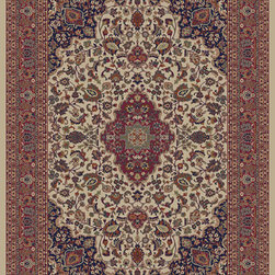 """Concord Global - Concord Global Jewel Heriz Ivory 6'7"""" x 9'6"""" Rug (4102) - Jewel collection is machine-made in Turkey using 100% heat-set polypropelene. These traditional to contemporary rugs will make a colorful addition to any area."""