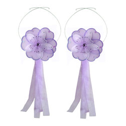 "Bugs-n-Blooms - Flower Tie Backs Purple White Triple Layered Flowers Tieback Pair Set Decor - Window Curtains Holder Holders Tie Backs to Decorate for a Baby Nursery Bedroom, Girls Room Wall Decor - 6"" Diameter Dark Pink White Triple Layered Curtain Tieback Set Daisy Flower 2pc Pair - Beautiful window curtains tie backs for kids room decor, baby decoration, childrens decorations. Ideal for Baby Nursery Kids Bedroom Girls Room.  This gorgeous daisy flower tieback set is embellished with triple layered petals.  This pretty daisy flower decoration is made with a soft bendable wire frame & have color match trails of organza ribbons.  Has 2 adjustable wires to wrap around the curtains; or simply remove & add your own ribbon for a personal & custom look.  Visit our store for more great items. Additional styles are available in various colors, please see store for details. Please visit our store on 'How To Hang' for tips and suggestions. Please note: Sizes are approximate and are handmade and variances may occur. Price is for one pair (2 piece)"