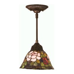 Meyda Tiffany - Meyda Tiffany Rosebush Traditional Pendant Light X-72984 - Meyda Tiffany brings their classic style to this Rosebush Traditional Pendant Light. A smaller version of their fixtures, this pendant still fits in gorgeous pink and red roses among hues of green leaves. Graceful and delicate, this pendant is stained glass at its best. Some ideas for the placement of this pendant would be over a dining room table or living room coffee table.