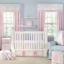 Wendy Bellissimo - The Willow by Wendy Bellisimo 5-Piece Crib Bedding Set - Delicate damask mixed with a floral medallion butterfly motif create this elegant collection of soft shades of baby pink, white, light blue, green and rose. Set includes a luxury blanket, crib skirt, fitted sheet, diaper stacker and raffia basket.