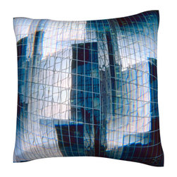 Custom Photo Factory - Mirrored Building Structure Polyester-Velour Throw Pillow - Mirrored Building Structure Pillow. 18 Inches x 18  Inches.  Made in Los Angeles, CA, Set includes: One (1) pillow. Pattern: Full color dye sublimation art print. Cover closure: Concealed zipper. Cover materials: 100-percent polyester velour. Fill materials: Non-allergenic 100-percent polyester. Pillow shape: Square. Dimensions: 18.45 inches wide x 18.45 inches long. Care instructions: Machine washable