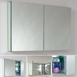 """Fresca - Large Bathroom Medicine Cabinet w Mirrors - Recessed Mounting Option. Product Material: Glass. Finish: Mirror. 2 Glass Shelves. 2 Mirrored Doors. 39.5 in. W x 26 in. H x 4.75 in. DThis 40""""medicine cabinet features mirrors everywhere. The edges have mirrors and also on the interior of the medicine cabinet. The inside features two tempered glass shelves. Can be wall mounted or recessed into the wall."""