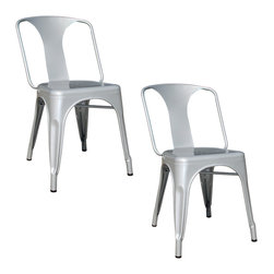 Buffalo Tools - AmeriHome 2 Piece Metal Dining Chair Set - Silver - 2 Piece Metal Dining Chair Set - Silver by AmeriHome This AmeriHome Metal Dining Chair Set in Silver is durable enough for use in the shop, and stylish enough to use in the kitchen, game room, bar, basement, dorm room, or loft. The Dining Chairs have a modern, industrial style, with clean lines and a simple elegance, which will look great in the dining room or on the patio. The chairs arrive fully assembled, so they are ready to use as soon as they arrive. Lightweight and sturdy, each chair weighs only 12 lbs., but is strong enough to hold up to 530 lbs. Each Metal Dining Chair has a brace under the seat that provides additional support and stability. No-mar rubber feet keep them from sliding and scratching hardwood floors. The Dining Chairs are painted a metallic silver with a scratch-resistant powder coat paint finish. Each Dining Chair stands 30.75 inches tall with a seat height of 17.5 inches from the floor. Sold in a set of 2. Industrial, modern look for kitchen, dorm or shop  Scratch-resistant powder coated paint finish  Easily stacks for convenient storage X-brace support under the seat for stability and durability Overall size: 17 in. W x 21 in. D x 30.75 in. H Seat height: 17.5 in., seat size: 14 in. W x 16 in. D Rubber feet prevent scratches on floors Weight Capacity: 530 lbs., each chair weighs 12 lbs. Sold in a set of 2