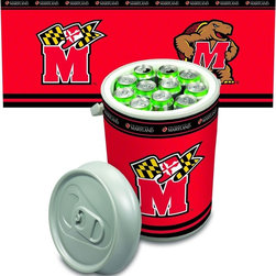 "Picnic Time - University of Maryland Mega Can Cooler - The Extra large Can Cooler by Picnic Time is a hard-sided cooler and large beverage can replica that also doubles as a seat. It holds twenty seven 12-oz. cans and has a 5 gallon capacity. It features a snugly fitting, fully removable lid and folding handle. Perfect for the beach, patio, tailgating, parties, and sporting events. Made of HDPE.; College Name: University of Maryland; Mascot: Terrapins/Terps; Decoration: Digital Print; Includes: Extra large (12.25"" diameter X 20.75"" high) insulated plastic cooler with pivoting handle and removable lid; 27-can capacity (5-gallon). Can also be used as a seat. Made of HDPE. Pivoting handle; Removable lid; Cooler can be used as a seat; Holds 27 12-oz. cans"