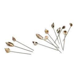 Go Home - Seashore Olive Picks-Set of 12 - Each of these sandwich picks has a fun little seashore on top.Made of stainless steel , shell, these disposable martini olive picks are perfect for parties, events, restaurants and bars.Ideal for appetizers and cocktails.Sold as a Set of Twelve.