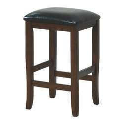 Monarch Specialties - Monarch Specialties 1836 Leather Counter Height Stool in Dark Oak (Set of 2) - These dark oak barstools flatter the design of the dining table with their clean, straight lines. With their black bonded leather cushion seats, these barstools undeniably add style and appeal to the dining set.