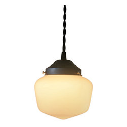 Petite Schoolhouse Pendant Light With Cloth Twisted Cord, Black Cloth - A smaller twist on a classic look. This scaled down shade still has the great vintage look of the opal schoolhouse lights. This light features a steel fitter that can be removed easily for bulb changes and cleaning.
