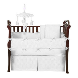 Sweet Jojo Designs - Minky Dot White 9-Piece Baby Crib Bedding Set by Sweet Jojo Designs - The  baby bedding by Sweet Jojo Designs includes: comforter, bumper, dust ruffle, fitted sheet, toy bag, pillow, diaper stacker and 2 window valances.