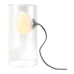ZUO PURE - Eruption Table Lamp Clear - The frosted orb within the clear glass cylinder will give the illusion of a floating warm ball illuminating its surroundings. The Eruption table lamp comes with one 40W bulb and us UL approved.