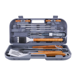 Mr Bar B Q - 12-Piece Tool Set with Bonus Thermo Fork - Mr. Bar-B-Q 12 Pc Set with Bonus Thermo Fork. ForkSet Includes: Spatula, Tongs, Fork, Grill Brush, 4 Skewers & 4 Corn Holders. All of the tools have extra long finger grip wood handles. The Thermo-fork helps tell the temperature of your food so you always have a perfectly cooked piece of meat