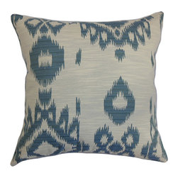 The Pillow Collection - Gaera Blue 18 x 18 Ikat Throw Pillow - - Pillows have hidden zippers for easy removal and cleaning  - Reversible pillow with same fabric on both sides  - Comes standard with a 5/95 feather blend pillow insert  - All four sides have a clean knife-edge finish  - Pillow insert is 19 x 19 to ensure a tight and generous fit  - Cover and insert made in the USA  - Spot clean and Dry cleaning recommended  - Fill Material: 5/95 down feather blend The Pillow Collection - P18-D-71024-DENIM-C100