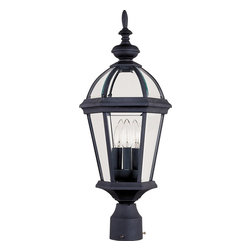 Maxim Lighting - Maxim Lighting Builder Cast Outdoor Post Lantern Light X-KB3201 - A tapered frame has been paired with a domed roof to create this traditional Maxim Lighting outdoor post lantern light. From the Builder Collection, the body features multiple clear beveled glass panels that ensure ample light flows from the three candelabra lights, making it an ideal addition to your home's outdoor security lighting scheme. A crisp Black finish adds to the classic flair of the design, pulling the look together.