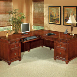 DMi - Antigua Executive L-Shape Desk with Right Return - Antigua's sophisticated yet casual island styling offers a complete collection of office to home office attire to fit a variety of demands and environments. Function is an integral component of Antigua's design. Features: -Executive L-shape desk.-Center drawer with hinged drop-front that can function as a conventional drawer or a keyboard drawer.-Felt-lined box drawer / box drawer with wood dividers / file drawer per pedestal.-Kneehole lock secures middle box and file drawers.-All drawers are suspended on ball bearing slides.-All cases are equipped with levelers to adjust for less than even flooring.-Tops feature fancy face veneers in a decorative parquet pattern.-Lightly carved details.-Fluted pilasters.-Shaped mouldings.-All file drawers are equipped to accommodate front-to-back letter sized or side-to-side legal sized hanging file folders.-File drawers have 150 lb. rated slides.-Box drawers have 100 lb. rated slides.-Keyboard drawers have a 50/75 lb. rating.-Cable grommets or other neat computer cable management included.-Antigua collection.-Distressed: No.-Collection: Antigua.Dimensions: -Desk: 30'' H x 72'' W x 36'' D.-Credenza: 30'' H x 48'' W x 24'' D.-Overall dimensions: 30'' H x 72'' W x 36'' D.Assembly: -Note: Requires minor assembly.