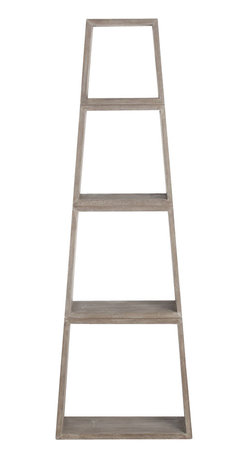 Arteriors - Platt Etagere - Display your cherished collectibles on this sleek and chic étagère. Four stackable pieces of acacia wood done in a weathered oak finish form an elegant pyramid of open shelving.