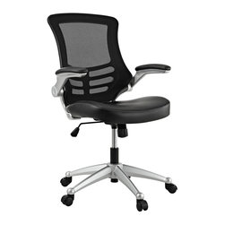 Modway - Modway EEI-210 Attainment Office Chair in Black - Taking you where you need when you need it most. The Attainment Office Chair is a form-fitting ergonomic chair made from the most revolutionary advances in seating today. The breathable mesh back is curved to assist back and shoulder posture, while the lower frame provides exemplary lumbar support. With flip up arms, and a waterfall padded leatherette seat, enjoy your work from a place of comprehensive comfort.