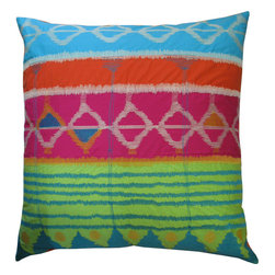 """KOKO - Java Bright Pillow, 26"""" x 26"""" - This is pretty much a party in a pillow. Start mixing the margaritas and let this festive design set the mood. The bright colors and beautiful embroidery will give you the perfect shot of energy in your living room."""
