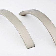 Satin Nickel 128mm Contemporary Metal Cabinet Handle Flat Arch Design