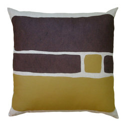 Balanced Design - Felt Appliqué Linen Pillow - Big Block, Chocolate/Bronze, 22x22 - Color-blocking is a great way to introduce bold shots of color to your home. The soft and colorful felt appliqué is a perfect match for the natural linen pillow, and you can feel great that it was made in the USA. The insert is even made of fiber from recycled plastic bottles. It's stylish and ecofriendly. What's better than that?