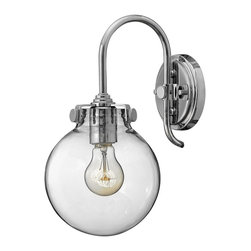 Hinkley Lighting - 3174CM Congress Wall Sconce, Chrome, Hand Blown Clear Glass - Traditional Wall Sconce in Chrome with Hand Blown Clear glass from the Congress Collection by Hinkley Lighting.