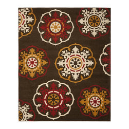 Safavieh - Newbury Brown/Red Area Rug NWB8699-2540 - 8' x 10' - Dramatic statements for neutral rooms in need of pizzazz, the exploded floral and medallion patterns in Safavieh's Newbury collection work equally well in living room, bedroom and dining room.