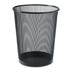 Lorell - Lorell Black Mesh Round Waste Bin - 4.70 gal Capacity - Round - Round waste receptacle is part of the Lorell line of black steel mesh and wire desk accessories. Quality mesh construction has smooth edges and an appealing, powder-coat paint finish to match most office decor.