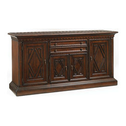 Lexington - Lexington Fieldale Lodge Glenwood Buffet - The Glenwood Buffet will make a most handsome addition to your home's traditional dining room. Crafted from hardwood solids and veneers, this piece presents a striking statement with diamond molding door fronts, a hand-hewn top that gives the well-worn look of an item loved over a period of time, and a top molding rail with decorative cutouts. The Glenwood Buffet features two drop-front, felt-lined drawers that are divided for silver storage. There is one adjustable shelf behind the center doors, and three adjustable shelves behind both the left and right doors for storage.