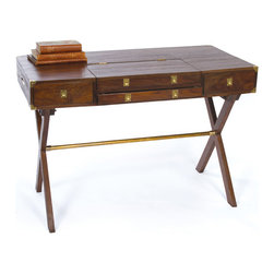 """Go Home - Go Home Commanders Desk - The Vintage Commanders Desk features a sleek rectangular wooden box over """"X"""" shaped legs. The desk has easy assembly and installation settings and utilizes small spaces beautifully. The Vintage Commanders Desk has two deep recessed drawers at the top front with a sleek recess accessible from the table top in between. The two X legs are joined by a metal rod with brass finish. The sleek and easy design of the Vintage commanders table is perfect for your reading desk inside the reading room."""