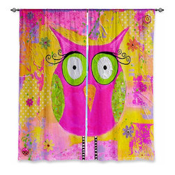"""DiaNoche Designs - Window Curtains Lined by Michele Fauss Hootie the Owl - DiaNoche Designs works with artists from around the world to print their stunning works to many unique home decor items.  Purchasing window curtains just got easier and better! Create a designer look to any of your living spaces with our decorative and unique """"Lined Window Curtains."""" Perfect for the living room, dining room or bedroom, these artistic curtains are an easy and inexpensive way to add color and style when decorating your home.  This is a woven poly material that filters outside light and creates a privacy barrier.  Each package includes two easy-to-hang, 3 inch diameter pole-pocket curtain panels.  The width listed is the total measurement of the two panels.  Curtain rod sold separately. Easy care, machine wash cold, tumble dry low, iron low if needed.  Printed in the USA."""