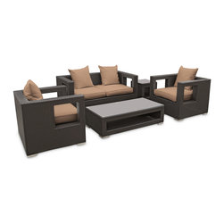 Lunar 5-Piece Outdoor Patio Sofa Set - Elicit pure perceptions with this brightly illuminated outdoor living set. Inherit abundant light and energy as even the moon's halo shines a radiant glow on fertile mocha all-weather cushions and espresso rattan base. Rejuvenating discussions await along the path of illuminated space and emergent explorations.