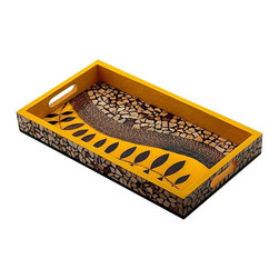 Kouboo - Coconut Shell Mosaic Serving Tray, Yellow, Small - Don't just serve food to your guests; make it into a work of art with this striking mosaic serving  tray. Handcrafted from wood, this serving tray features coconut shell and coconut twig inlays. This tropical serving piece will complement any dinner party fare.