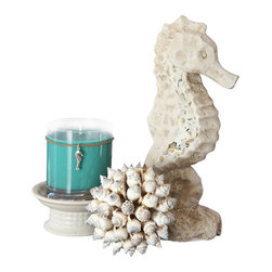 Ocean Seahorse Themed Candle Centerpiece - Something about the sea has always been magical. Just the fact that it is peaceful, serene, and there is so much that we don't know about it, makes it one of the most intriguing elements to be found. If you are a lover of the sea then the combination of this cute cement seahorse figurine, shell ball and teal candle are the ultimate ocean themed candle gift.