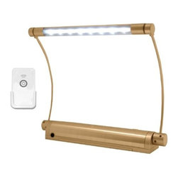 Rite Lite - Rite Lite LPL606XLGRC Wireless 8 LED Picture Light w/ Remote Contro... - Rite Lite LPL606XLGRC Wireless 8 LED Picture Light w/ Remote Control, Gold Metal Rite Lite LPL606XLGRC wireless LED picture light is the perfect light to highlight artwork, pictures or diplomas hanging on the wall. The eight white LEDs are super bright and last up 100,000 hours. This light is battery operated (batteries not included), therefore no wires or installation are required. More importantly no more messy wires hanging from the bottom of a beautiful piece of art. The adjustable light head rotates and the light arms adjust up or down to direct light exactly where you need it. The metal finish makes this light museum quality. Easy one-touch ON/OFF switch w/ selectable dimmer. This picture light includes a wireless remote control (battery operated) which can be mounted anywhere in the room for remote control operation. The remote control mounting bracket gives the remote the appearance of a light switch. Picture light includes a screw mount bracket which slides off easily to change batteries. A great multi-use light perfect for home or office.