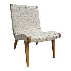 Risom Inspired Lounge Chair and Ottoman - The Knoll Risom Lounge Chair is a stylish wood frame, angled attractively, wrapped and woven in strips of fabric. Made of maple and cotton or nylon webbing, the pattern of the chair is a combination of gentle curves and geometric angles exhibit. Set the lounge chair in your living room or placed in front of a coffee table and you have the ultimate room decor.