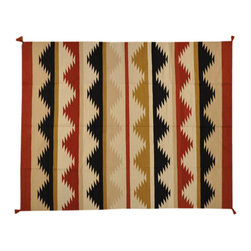 Hand Woven 8'X10' Reversible Multicolored Navajo Design Area Rug, SH1675 - This collections consists of well known classical southwestern designs like Kazaks, Serapis, Herizs, Mamluks, Kilims, and Bokaras. These tribal motifs are very popular down in the South and especially out west.
