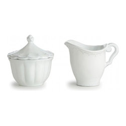 Arte Italica - Bella Bianca Sugar & Creamer Set - This dinnerware was created by an Italian fashion designer then hand-crafted using a delicate white glaze over stoneware. The beautiful details create an elegant, unique addition to any table. Italian Stoneware, Hand made in Italy.