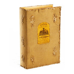 """Kathy Kuo Home - Livre Antique Farmhouse Book Storage  Box - Medium - There's nothing """"by the book"""" about the Livre book box.  Crafted from birch wood and tea stained linen, with old French culinary labels on the cover, the Livre is a great place to store keepsakes, jewelry, recipe cards or whatever your heart desires.  Stack with the small and large versions for a stylish storage solution."""