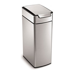 simplehuman - 40 Litre Slim Touch-Bar Can - No hands free? No problem! All it takes is a tap of the elbow, a bump of the hip or a nudge of the knee to open this 40-liter trash can. The lid even stays open until you're done. The tall rectangular design sits flush against the wall too, saving space.