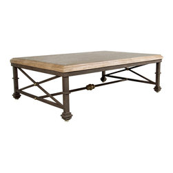 """GILANI - Venice Coffee Table Base - Venice Coffee Table Base. Style no: CT96700. 60""""w x 40""""d x 18""""h. Material: Metal. Finish: As specified. Accents: Polished Bronze. Top Options: Glass, stone, wood. Custom sizing available. designed by Shah Gilani, ASFD."""