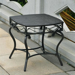 International Caravan - Patio Side Table in Black Antique Finish - Water resistant. UV light fading protective coating. Durable powder coated steel frame. Made from wicker resin. Assembly required. 22 in. W x 22 in. D x 21 in. H (16 lbs.)The Valencia wicker resin outdoor side table is a perfect accent piece for any outdoor setting.