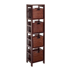 Winsome Wood - Espresso Finished Wood Shelf Unit w Four Ratt - * Espresso finish. Solid Wood. Includes 4 rattan baskets. Assembly required. 11.25 in. L x 13.5 in. W x 55 in. H. 28 lbs