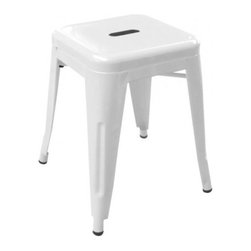 Imported chair - Tolix H Stool, White - This striking replica Tolix stool chair makes a stunning addition to a diverse range of environments. It complements traditional and modern decor and works equally well as a desk chair, patio or poolside chair, or as seating within an entertainment space. There's no restriction on indoor or outdoor use and the armchair easily transitions from standalone use to being paired with other seating or tables. For a chic, eye-catching furniture set consider pairing this stool chair with other pieces from our replica Tolix range.