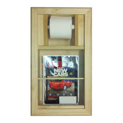 None - Bevel Frame Recessed Magazine Rack/ Toilet Paper Holder Combo - The Bevel Frame Recessed Magazine Rack/Toilet Paper Combo works with both single and double size rolls. This functional toilet paper holder features a solid pine wood construction and includes a white plastic spring loaded toilet paper roller.