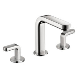 Hansgrohe - Hansgrohe - Metris Widespread Lav Lever - 31067001 - Chrome - This Hansgrohe Metris S 8 in. 2-Handle Mid-Arc Bathroom Faucet in Chrome features solid brass construction for durability and has a sleek chrome finish that can be easily cleaned. The dual-handle design is ADA compliant to provide easy use and precise temperature adjustment, and the 1.5 GPM water flow rate helps provide efficient operation.