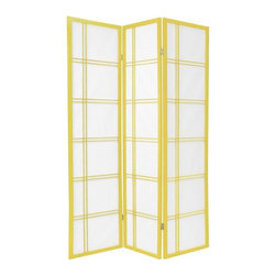 Oriental Furniture - 6 ft. Tall Double Cross Shoji Screen - Special Edition, Yellow, 3 Panel - A traditional building material in Japan, Shoji rice paper is renowned for its ability to offer privacy without completely blocking ambient light. Set in a stylish Scandinavian spruce frame, this screen will make a striking accent to any room's decor.