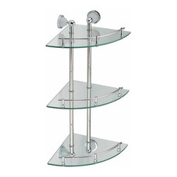 Renovators Supply - Glass Shelves Clear Glass/Stainless, Triple Glass Shelf - A tempered glass and stainless steel corner shelving system! Durable, attractive, and versatile!
