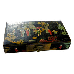 2 Asian Hand Painted Black Lacquer Nesting Boxes - Asian Hand Painted Scene in rich Gold, Yellow, Red, Green with Black Lacquer.  Wooden box with Bronze Clasp & Hinges. Beautiful piece for desk or jewelry.